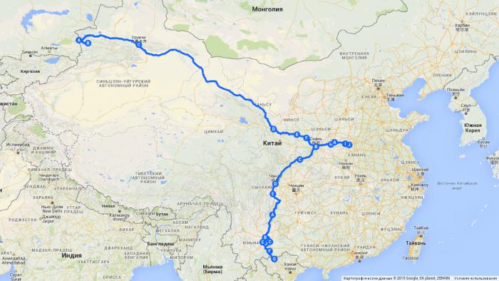 Китай, маршрут