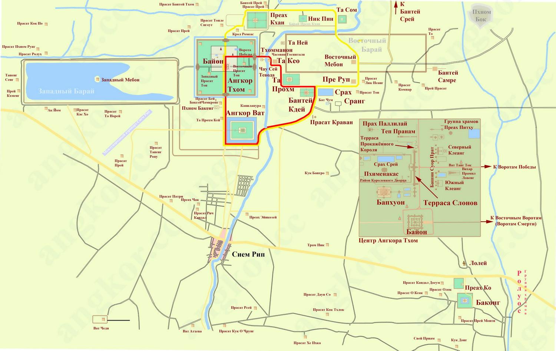 Карта Ангкора с расположением храмов